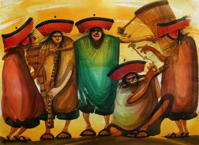 'Execute That Song Without Haste' - Original Painting Peru Expressionism Art