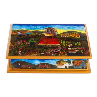 Hand Made Peruvian Reverse Painted Glass Jewelry Box