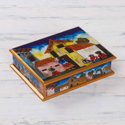 Painted glass jewelry box, 'Village Houses' - Andean Folk Art Handmade Glass Jewelry Box