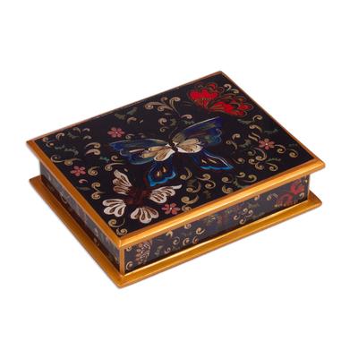 Reverse Painted Glass Jewelry Box