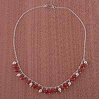 Carnelian choker, 'Sunny Harmony' - Unique Sterling Silver and Beaded Carnelian Womens Necklace