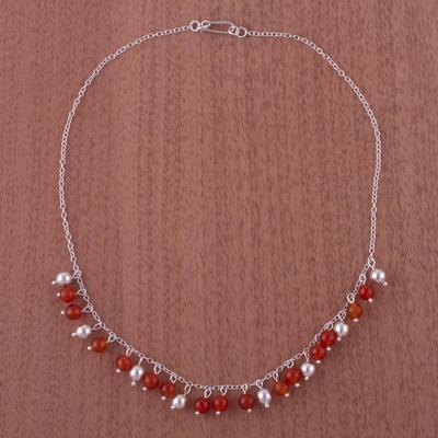 Carnelian choker, 'Sunny Harmony' - Handcrafted Sterling Silver Beaded Carnelian Choker Necklace