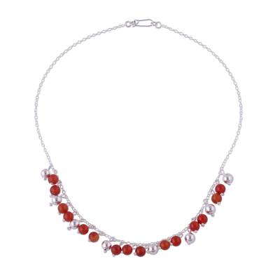 Handcrafted Sterling Silver Beaded Carnelian Choker Necklace