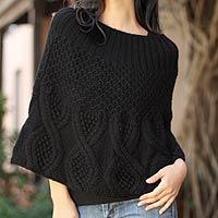 100% alpaca poncho, 'Inca Belle' - 100% Alpaca Wool Poncho Handknit in Solid Black