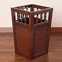 Leather and wood umbrella stand, 'Floral Banners' - Traditional Leather Wood Umbrella Storage Furniture