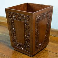 Leather basket, 'Inca Garlands' - Handmade Peruvian Colonial Wood Leather Waste Basket