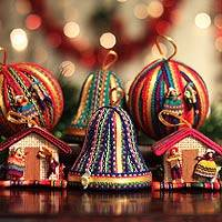 Ornaments, 'Christmas Color' (set of 6) - Artisan Crafted Christmas Folk Art Ornaments (Set of 6)