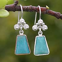 Amazonite earrings, 'Temple of the Flowers' - Amazonite earrings