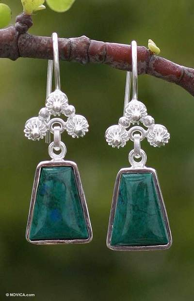 Unique Floral Fine Silver and Chrysocolla Earrings