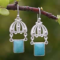 Amazonite filigree earrings, 'Swinging in the Rain' - Hand Made Fine Silver Filigree Amazonite Earrings
