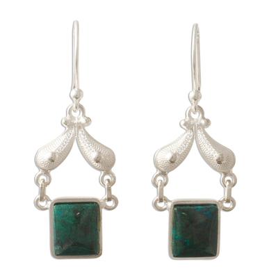 Handmade Jewelry Fine Silver Dangle Chrysocolla Earrings