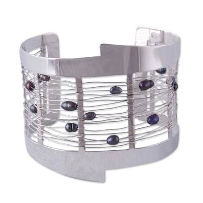 Woven Fine Silver Wire and Freshwater Pearl Beaded Cuff Bracelet