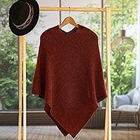 100% alpaca poncho, 'Autumn Splendor' - Women's Alpaca Wool Poncho