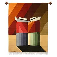 Wool tapestry, 'Andean Cry' - Wool tapestry