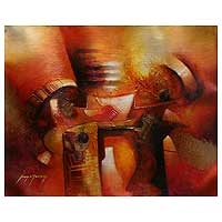 'Symbols' - Totems Original Oil Painting Peru Fine Art