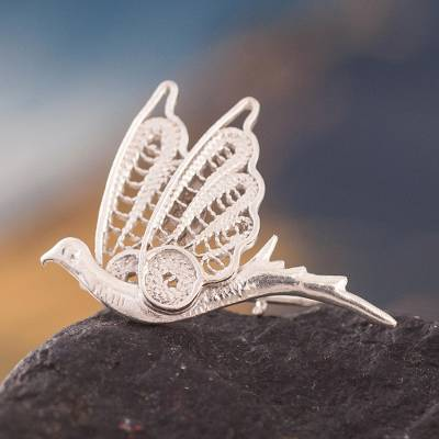 Silver filigree brooch pin, 'Filigree Dove' - Silver filigree brooch pin