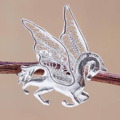 Silver filigree brooch pin, 'Filigree Pegasus' - Hand Made Silver Filigree Brooch Pin