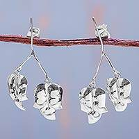 Silver flower earrings, 'Wintergreen' - Silver flower earrings