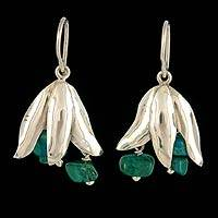 Chrysocolla flower earrings, 'Radiant Blossom' - Chrysocolla flower earrings