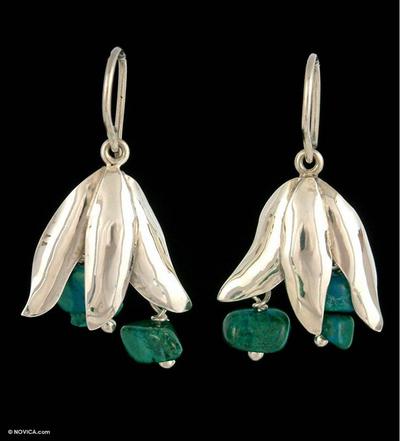 Chrysocolla flower earrings