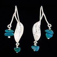 Chrysocolla dangle earrings, 'Inca Beauty' - Chrysocolla dangle earrings