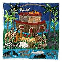 Applique wall hanging, 'Noah's Ark' - Noah's Ark Applique Tapestry Wall Hanging (20x20 in)