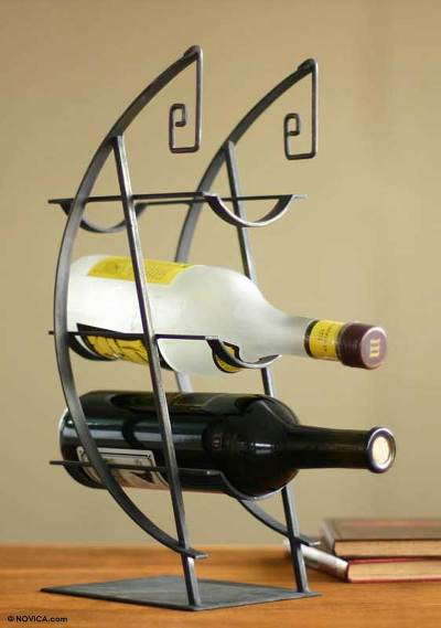Steel wine bottle holder, 'Space in Time' - Steel wine bottle holder