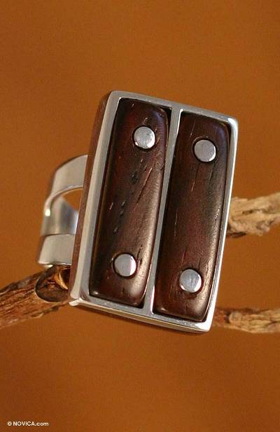SIlver Ring with Cedar Wood Accents Handcrafted in Peru