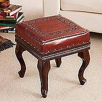 Leather and cedar ottoman, 'Inca Guardian' - Handmade Fine Leather Wood Ottoman