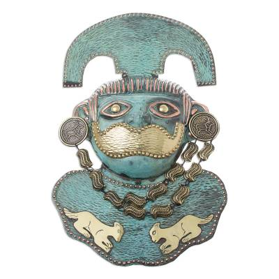 Handcrafted Bronze and Copper Wall Mask Peru