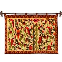 Wool tapestry, 'Bird Forest'
