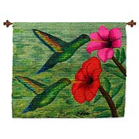Wool tapestry, 'Hummingbirds' - Artisan Crafted Wool Tapestry