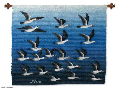 Wool tapestry, 'Seagull Sky' - Wool tapestry