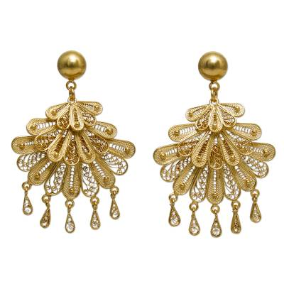 21k Gold Plated Silver Earrings Statement Piece
