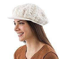 100% alpaca beret, 'Wispy Clouds' - Fair Trade Alpaca Wool Solid White Hat