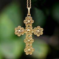 Gold plated cross necklace, 'Cross of Flowers'