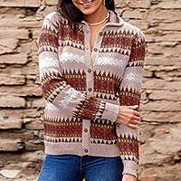 Alpaca blend sweater, 'Earth Honor' - Handcrafted Alpaca Blend Cardigan Sweater