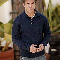 Men's alpaca blend sweater, 'Ocean Blue' - Men's Fair Trade Alpaca Blend Sweater