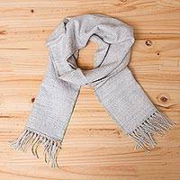 Alpaca blend scarf, 'Silver Gift of Warmth'