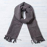 Alpaca blend scarf, 'Gray Gift of Warmth' - Unique Men's Alpaca Wool Scarf
