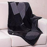 Alpaca blend throw blanket, 'Black Luxurious Geometry' (Peru)
