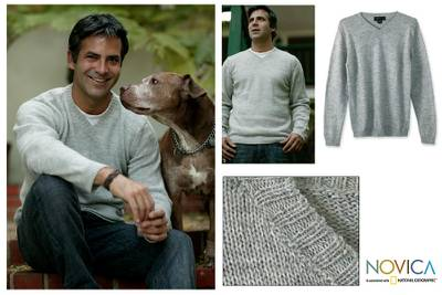 Alpaca blend mens sweater, Gray Favorite Memories