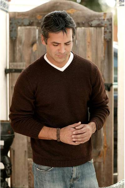 Alpaca men's sweater, 'Brown Favorite Memories' - Men's Alpaca Blend V Neck Sweater from Peru