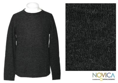 Men's 100% alpaca sweater, 'Coal Emperor ' - Men's Peruvian 100% Alpaca Wool Pullover Sweater