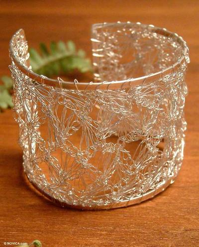 Handmade Crocheted Fine Silver Wire Filigree Lace Cuff Bracelet