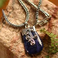 Sodalite pendant necklace, 'Renewal' - Sodalite pendant necklace