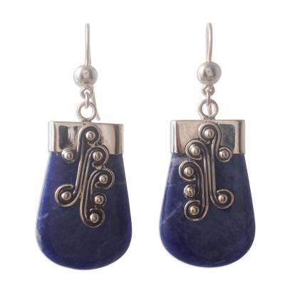 Unique Sterling Silver and Sodalite Dangle Earrings