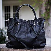 Leather hobo handbag, 'Nocturnal Black' - Leather Hobo Handbag with Shoulder Strap