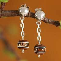 Sterling silver drop earrings, 'From Pisac Town' - Sterling silver drop earrings