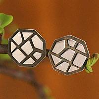 Sterling Silver Button Earrings Fortress (peru)